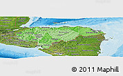 Political Shades Panoramic Map of Honduras, satellite outside, bathymetry sea