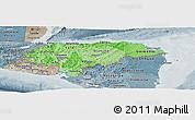 Political Shades Panoramic Map of Honduras, semi-desaturated