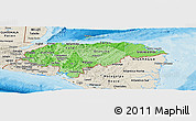 Political Shades Panoramic Map of Honduras, shaded relief outside, bathymetry sea
