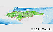 Political Shades Panoramic Map of Honduras, single color outside