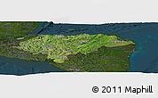 Satellite Panoramic Map of Honduras, darken