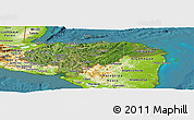 Satellite Panoramic Map of Honduras, physical outside, satellite sea