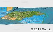 Satellite Panoramic Map of Honduras, political shades outside, satellite sea