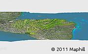 Satellite Panoramic Map of Honduras, semi-desaturated, land only