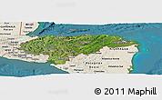 Satellite Panoramic Map of Honduras, shaded relief outside, satellite sea