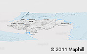 Silver Style Panoramic Map of Honduras, single color outside