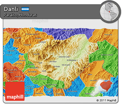 Free Physical 3D Map of Danli political outside