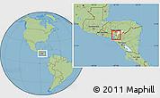 Savanna Style Location Map of Soledad, highlighted parent region