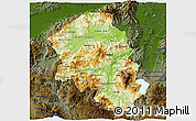 Physical 3D Map of Santa Barbara, darken
