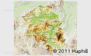 Physical 3D Map of Santa Barbara, lighten