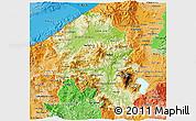 Physical 3D Map of Santa Barbara, political shades outside