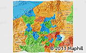 Political 3D Map of Santa Barbara, political shades outside