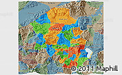 Political 3D Map of Santa Barbara, semi-desaturated