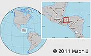 Gray Location Map of San Pedro Zacapa