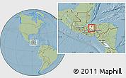 Savanna Style Location Map of San Vicente Centenario, highlighted parent region, hill shading