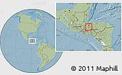 Savanna Style Location Map of San Vicente Centenario, hill shading