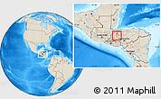 Shaded Relief Location Map of San Vicente Centenario
