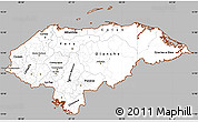 Gray Simple Map of Honduras, cropped outside