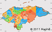 Political Simple Map of Honduras, cropped outside
