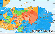 Political Simple Map of Honduras, political shades outside