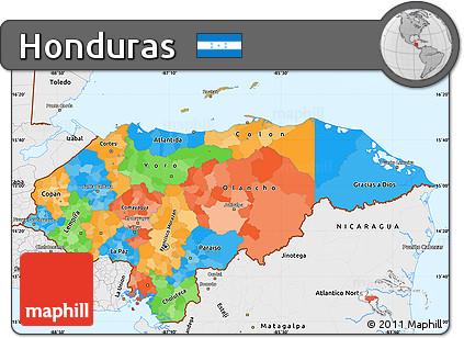 Free Political Simple Map of Honduras single color outside borders