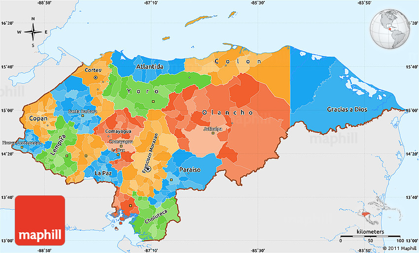 Political Simple Map Of Honduras Single Color Outside - Hondurus map