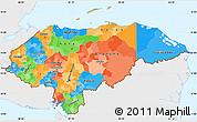 Political Simple Map of Honduras, single color outside