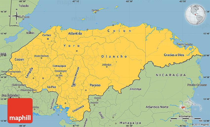 Savanna Style Simple Map Of Honduras - Map of honduras