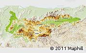 Physical 3D Map of Yoro, lighten