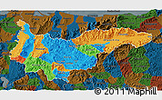 Political 3D Map of Yoro, darken
