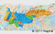 Political 3D Map of Yoro, lighten