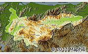 Physical Map of Yoro, darken