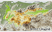 Physical Map of Yoro, semi-desaturated