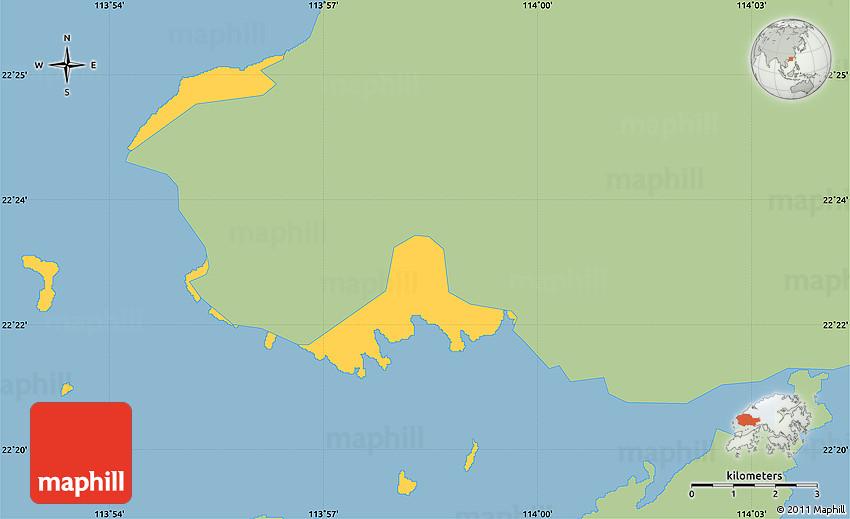 Savanna Style Simple Map Of Tuen Mun Single Color Outside