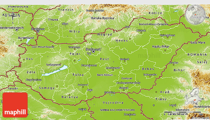 Physical 3D Map of Hungary
