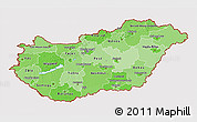 Political Shades 3D Map of Hungary, cropped outside