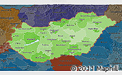 Political Shades 3D Map of Hungary, darken