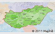 Political Shades 3D Map of Hungary, lighten