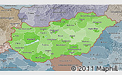 Political Shades 3D Map of Hungary, semi-desaturated