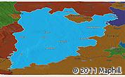 Political Panoramic Map of Bács-Kiskun, darken