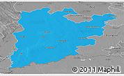 Political Panoramic Map of Bács-Kiskun, desaturated
