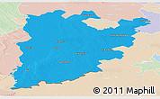 Political Panoramic Map of Bács-Kiskun, lighten