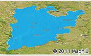 Political Panoramic Map of Bács-Kiskun, satellite outside