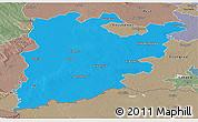 Political Panoramic Map of Bács-Kiskun, semi-desaturated