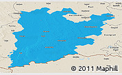 Political Panoramic Map of Bács-Kiskun, shaded relief outside