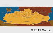 Political Panoramic Map of Baranya, darken