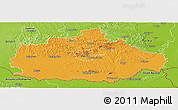Political Panoramic Map of Baranya, physical outside