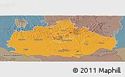 Political Panoramic Map of Baranya, semi-desaturated