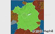Political 3D Map of Fejér, darken