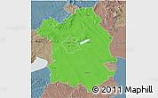 Political 3D Map of Fejér, semi-desaturated